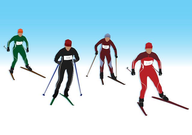 Män åker skidor